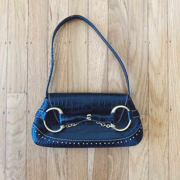 Vintage Handbags - Vintage Black Faux Alligator Purse
